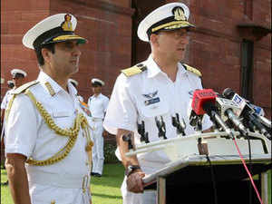 In pic: Israeli Navy Commander-in-Chief Vice Admiral Ram Rutberg being received by CNS Admiral RK Dhowan at South Block.
