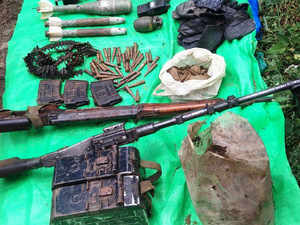 In pic: Ammunitions recovered from Ramban district on August 21, 2015.