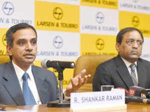 R Shankar Raman, Chief Financial Officer of Larsen & Toubro Limited and S N Subrahmanyan, Senior Executive Vice President of Construction & Infrastructure, Larsen & Toubro Limited during a press conference in Mumbai.