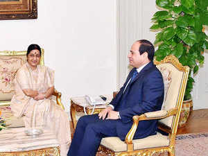In pic: Egyptian President Abdel Fattah al-Sisi meeting with Foreign Affairs Minister Sushma Swaraj in the Egyptian capital, Cairo on August 24, 2015.