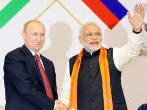 "Russia banks on Modi government to support it during ""these testing times"" of Russia being put under sanctions by the US and EU."