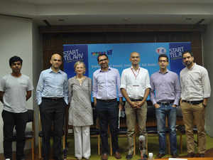 Start Tel Aviv - Indian Final winner Gautam Shewkramani, CEO, Audio Compass (in the middle) with Ditza Froim, Minister Counsellor, Public Diplomacy, Embassy of Israel and other jury members.
