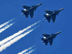 File photo: IAF's Sukhoi-30 MKI planes flying past during 64th Republic Day celebrations on January 26, 2013.