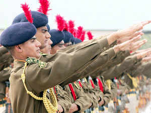 (In pic) ITBP recruits their passing out parade at the Basic Training Center at Bhanu near Chandigarh.
