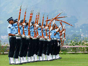 In pic: Air Warriors drill team participate in a drill during an Indian Air Force (IAF) function on the banks of Dal Lake in Srinagar, on July 15, 2015.
