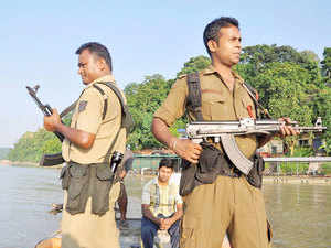 File photo: Security personnel patrolling River Brahmaputra ahead of Independence Day in Guwahati.