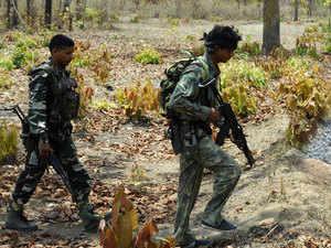 In pic: CRPF jawans patrolling at Dantewada in Chattisgarh where Maoists killed 76 jawans on 6th of April.