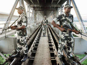 File photo: Security personnel inspecting the railway tracks at Saraighat Bridge ahead of the Independence Day celebrations in Guwahati.