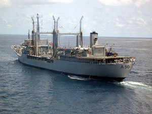 The ships are part of the Indian Navy's Western Fleet based at Mumbai and are on a long-range deployment to the Persian Gulf to enhance bilateral ties.In pic: INS Deepak