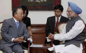 Prime Minister Manmohan Singh with Dai Bingguo, State councilor of China and China's Special Representative on the Boundary Question to India, during a meeting at Prime Minister's residence in New Delhi on August 8, 2009. (PTI)