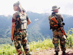 In pic: Soldiers patrolling near Indo-Myanmar border as part of enhanced security ahead of Independence Day celebration.
