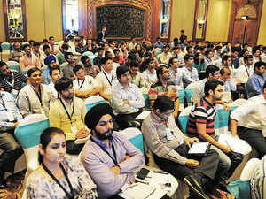 Investors and students crowd at Conquest 2015 International Startup Conclave in New Delhi.