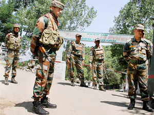 Army jawans on duty after ceasefire violations by Pakistan on the Line of Control (LoC)