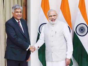 In pic: Prime Minister Narendra Modi shakes hands with his Sri Lankan counterpart Ranil Wickremesinghe before their meeting at Hyderabad House in New Delhi.
