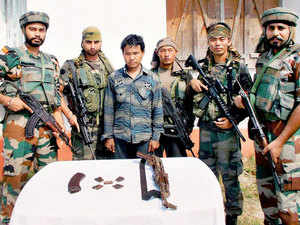 Hardcore National Democratic Front of Bodoland (Songbijit) [NDFB(S)] terrorist Libhao Basumatary alias Lufao being arrested by Army and Police in a joint operation in Chirang district of Assam.