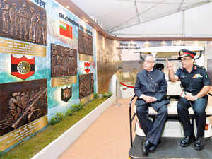 He was given a detailed briefing as he was escorted through the 700 metre long exhibition.