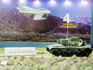 In pic: An exhibit of Patton Tank and Sabre jet model used by Pakistan Armed Forces during the 1965 Indo-Pak War displayed in the Special Exhibition on Golden Jubilee of 1965 Indo-Pak War at India Gate in New Delhi.