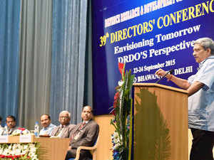Defence Minister Manohar Parrikar addresses the 39th Directors Conference 'Envisioning Tomorrow DRDO'S Perspective' in New Delhi.