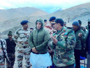 Union Home Minister Rajnath Singh with ITBP jawans during a visit to Dungti BOP in Leh.