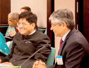 Piyush Goyal, Minister of State (IC) for Power, Coal, New and Renewable Energy with Indian Ambassador Arun Kumar Singh at the India-US Ministerial Energy Dialogue at the US Department of Energy, in Washington.