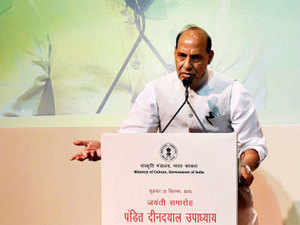 Union Home Minister Rajnath Singh addresses during the Birth Anniversary celebrations of Pandit Deendayal Upadhyaya in New Delhi.