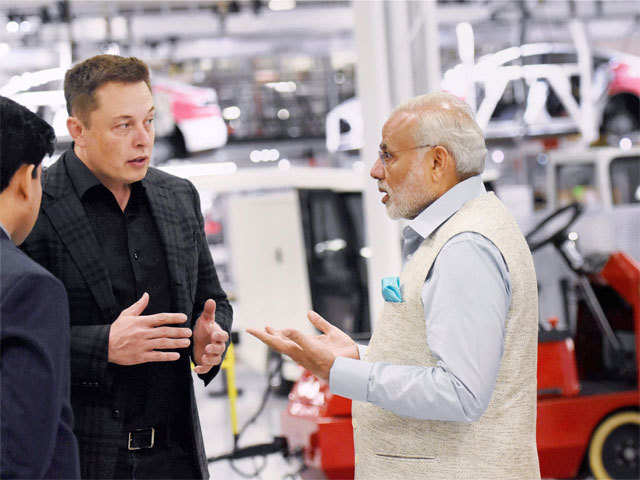 PM impressed by Tesla's technology - PM Modi's visit to Tesla Motors facility in San Jose | The Economic Times