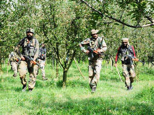 In pic: Army men take position during a gunfight with militants in Pulwama district in South Kashmir on Tuesday 11 August 2015.