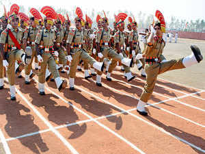 In pic:  New BSF recruits during passing out-Cum-Attestation parade at STC BSF Headquarters in Humhama, Srinagar.