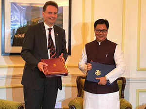 "The MoU on ""carriage of in-flight security officers within a short time fame"" was signed by Kiren Rijiju and his German counterpart Gunter Krings."