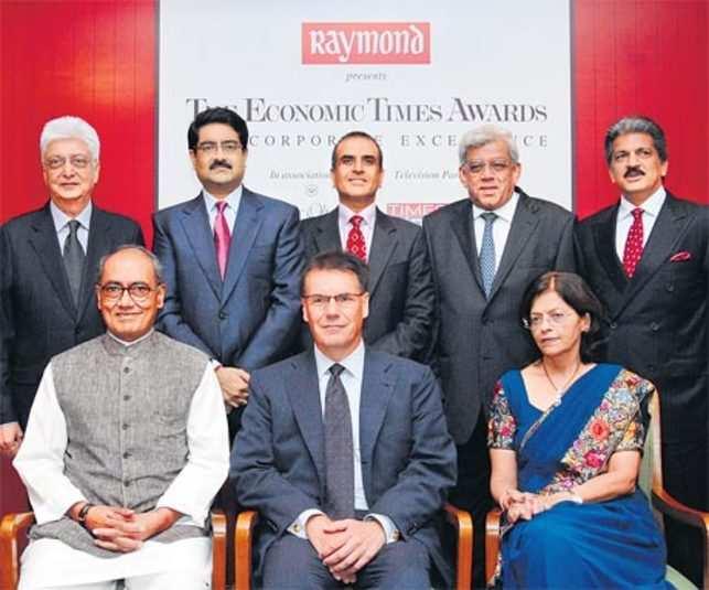 JUDGEMENT DAY: (Standing, L-R) Azim Premji, Kumar Birla, Sunil Mittal, Deepak Parekh and Anand Mahindra<br> (Sitting, L-R) Digvijaya Singh, Olli-Pekka Kallasvuo and Kalpana Morparia