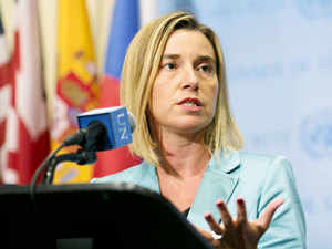 """EU foreign affairs head Federica Mogherini said Monday Russian intervention in Syria was a """"game-changer"""" and called for coordination to avoid risk."""