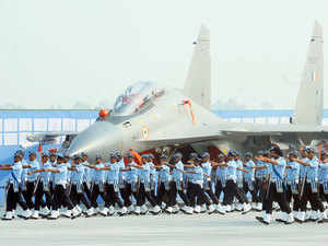 In pic: Air Force personnel march during the Air Force Day parade at the Air Force Station Hindon in Ghaziabad town on October 8, 2015.