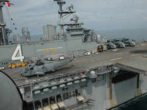 File photo: US warship Boxer LHD 4 during India-US joint Naval exercise in Goa, 29th October 2006.