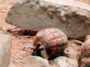 File pic: Grenade found during an encounter with armed attackers at the police station in Dinanagar town.