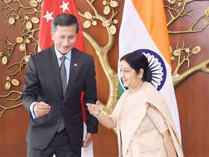 External Affairs Minister Sushma Swaraj and her Singaporean counterpart Vivian Balakrishnan co-chaired the 4th Joint Commission Meeting