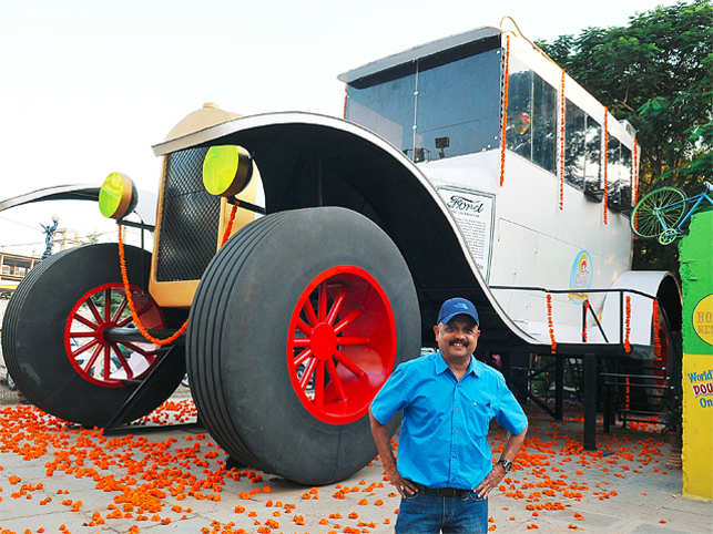 World record holder K Sudhakar Yadav had yet again attempting another Guinness world record with his new creation 'The largest Stationary Art Car Model - 1922 Ford Tourer' at the Sudhacars museum in the city on Tuesday.