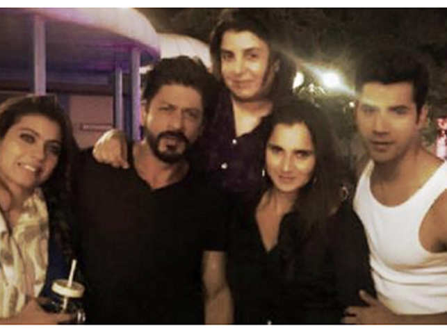 Shah Rukh shared pictures from the star's visit on Twitter and added she brought biryani for the team.