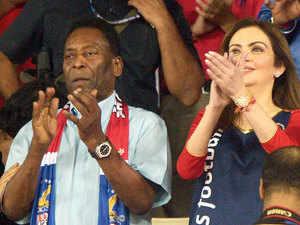 Former Brazilian footballer Pele (L) and Indian business woman, Nita Ambani watch the Indian Super League (ISL) football match between Atletico-de-Kolkata and Kerala Blaster FC at The Saltlake Stadium in Kolkata.