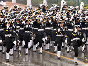 Women Navy soldiers march in formation down the ceremonial boulevard Rajpath during the Republic Day parade in New Delhi on January 26, 2015