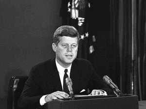 In this Oct. 22, 1962, file photo, President John F. Kennedy makes a national television speech from Washington.