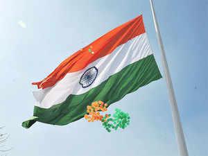 Delhi CM Arvind Kejriwal inaugurated the 'Monumental National Flag', measuring 30x20 ft, at the rotary junction connecting Shantipath, Niti Marg and Nyaya Marg.