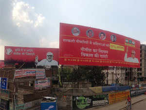 The state capital, which goes to polls in the next phase on October 28, has never seen such an in-your-face hoardings war between Nitish Kumar and Narendra Modi.