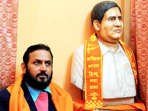 """Chandraprakash Kaushik, president of Hindu Mahasabha, said he has asked all its 120 offices to gear up for a """"district level"""" commemoration."""
