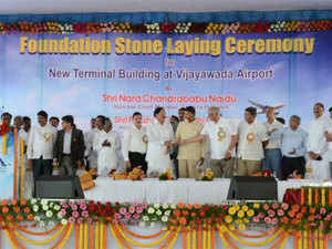 Chandrababu Naidu today laid the foundation stone for the new terminal building at the city airport, built at an estimated cost of Rs 135 crore.