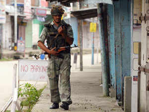 File photo: Army Jawans patrol deserted streets of Kokrajhar as Bodo groups burst out in protest.