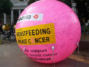 Over 250 women sign the Giant Pink Balloon.