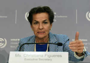 Christiana Figueres, executive secretary of the United Nations Framework Convention on Climate Change, addresses a news conference at the UNFCCC summit in Bonn, Germany. (AFP photo)