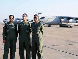 File photo: Three women pilots posted here are Veena Saharan, Teji Uppal and Nidhi Handa at Chandigarh based air force station.