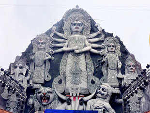 The highly-publicised cement and fibre glass Durga had been at the centre of a controversy in the eastern metropolis which is decked up with around 3,000-odd installations each year during the Puja.