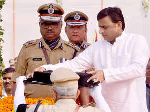 A tribute to shaheed police employees who died this year by by UP chief minister Akhilesh Yadav.